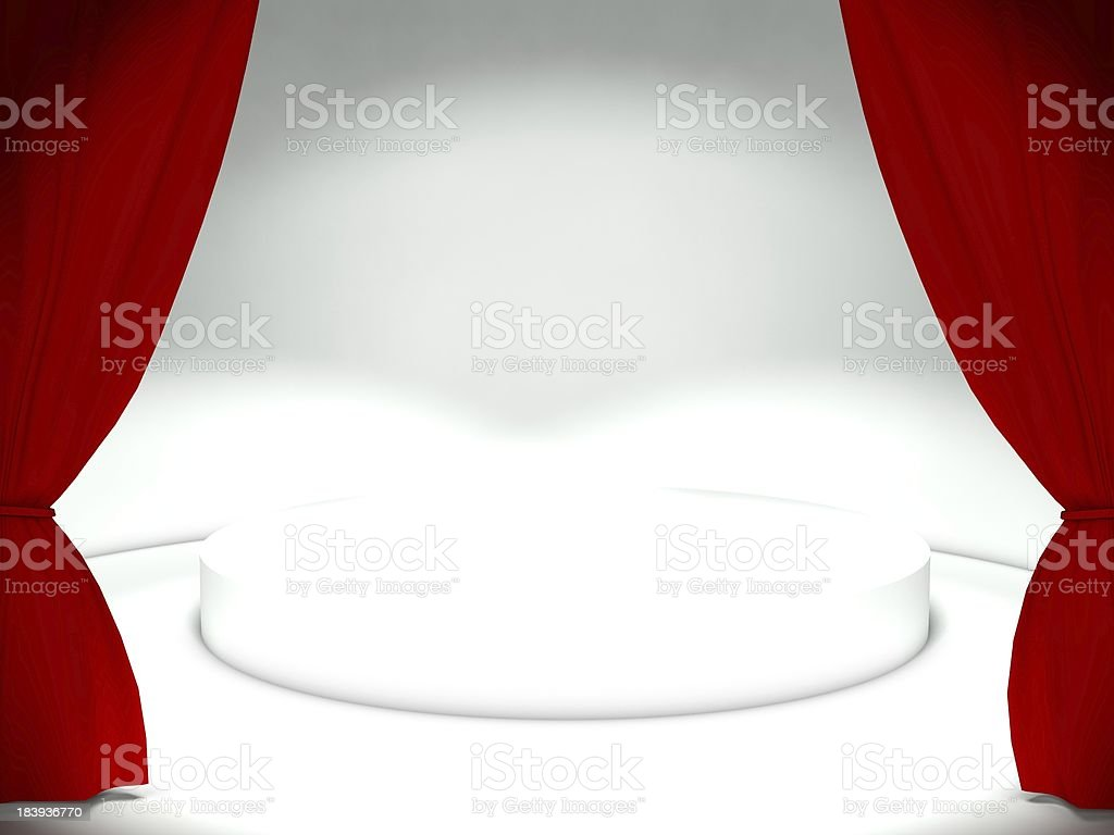 3d red curtain with empty stage royalty-free stock photo