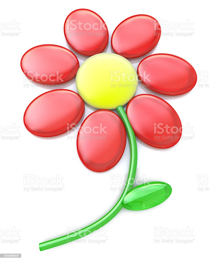 3d red flower isolated on white stock photo