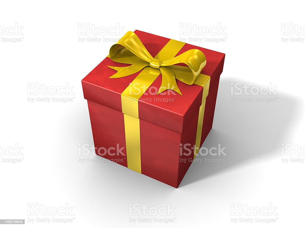 3d red gift box royalty-free stock photo