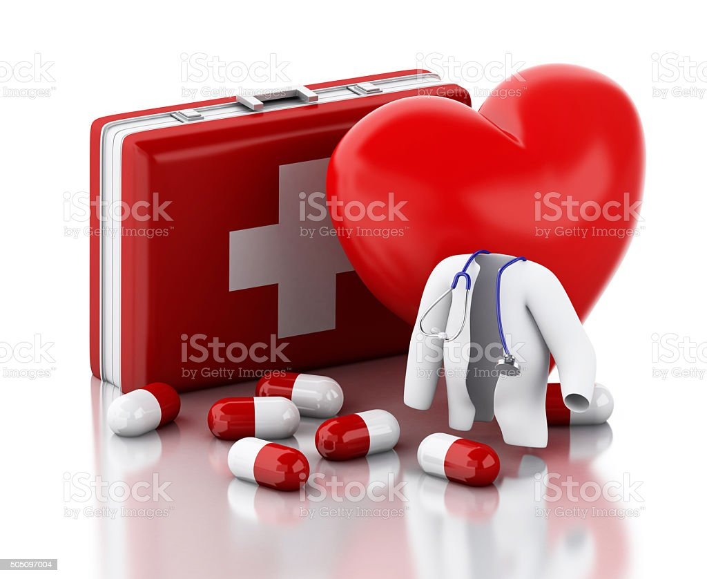 3d red heart, pills and First Aid Kit. stock photo