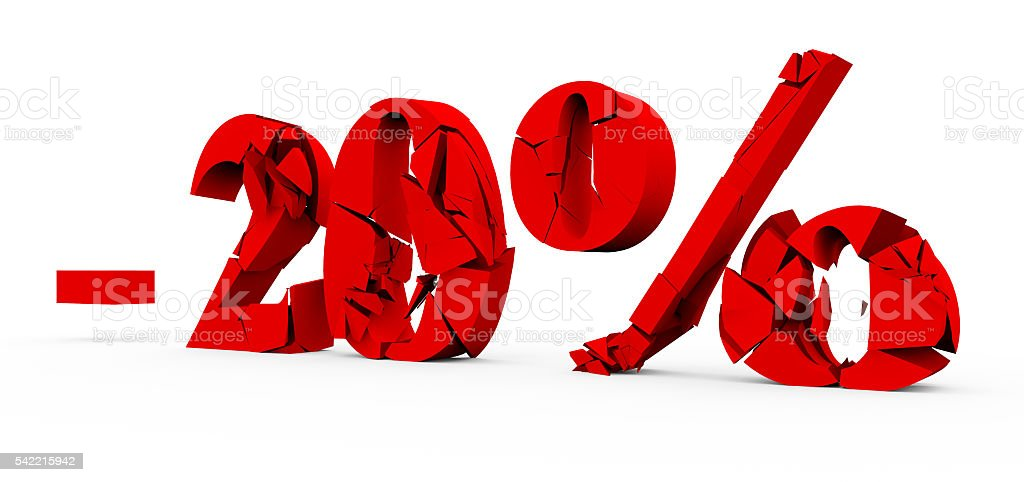 3d red text of discount the destruction of the text sale on white stock photo