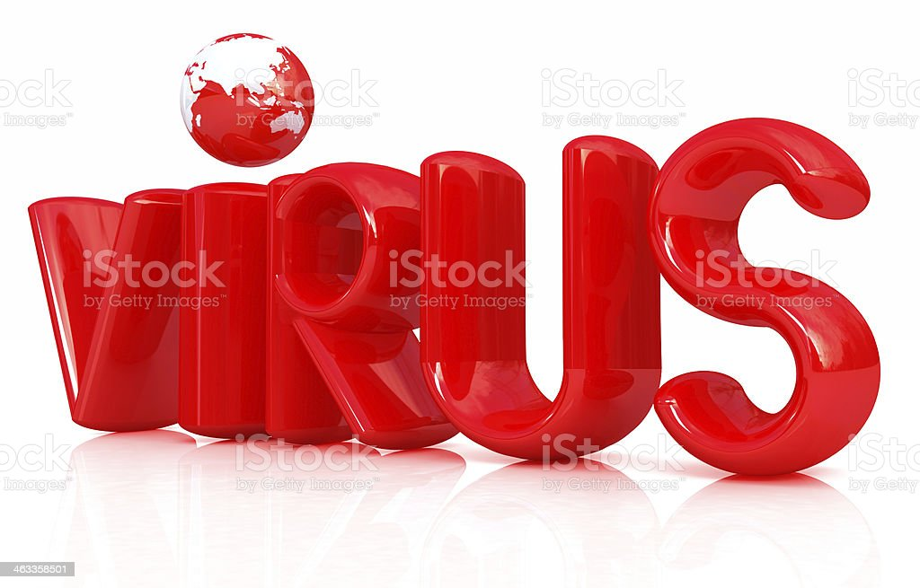 3d red text 'virus' royalty-free stock photo