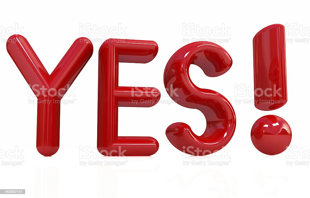 3d Red text ' Yes!' royalty-free stock photo