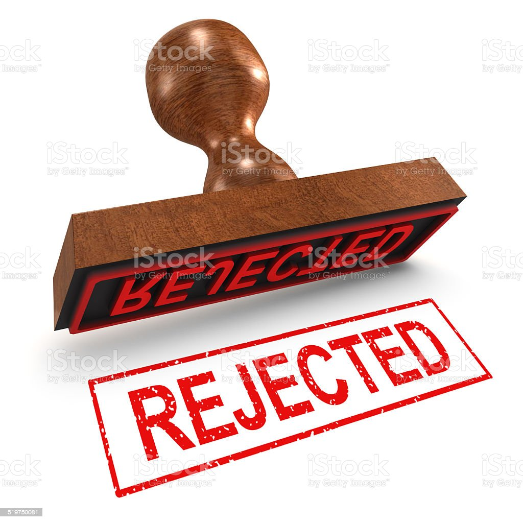 3d Rejected rubber stamp stock photo
