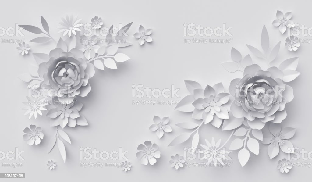 3d render, abstract white paper flowers, horizontal floral background, decoration, greeting card template stock photo