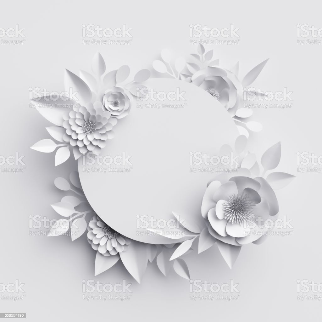 3d render, abstract white paper flowers, round frame, floral background, decoration, greeting card template, blank banner stock photo