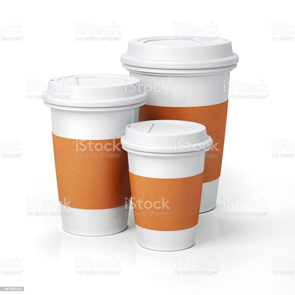 3d render- coffee cups on white background stock photo
