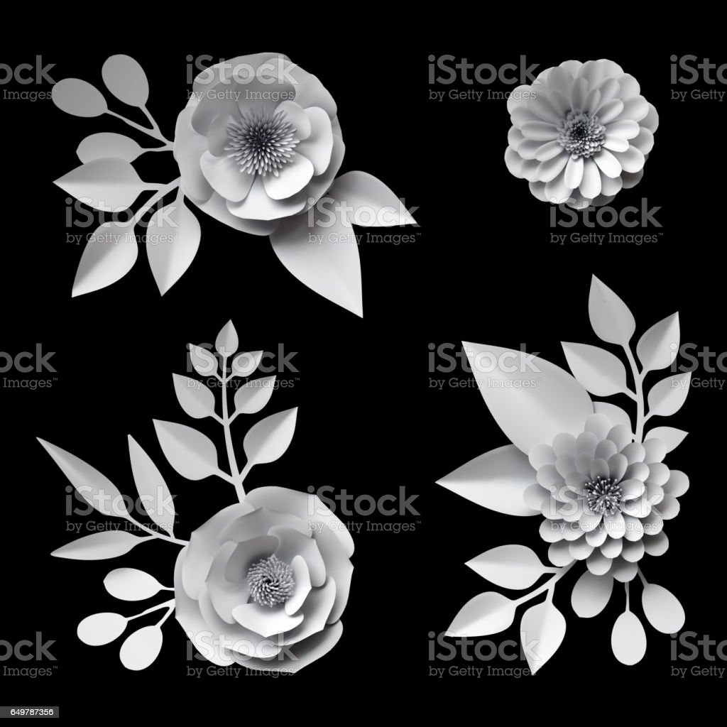 3d render, digital illustration, white paper flowers, design elements collection, clip art set, isolated on black background stock photo