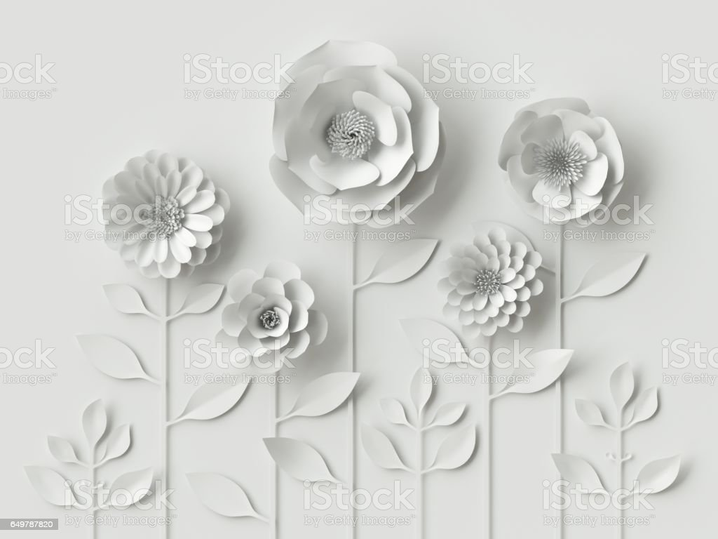 3d render, digital illustration, white paper flowers, floral background, bridal bouquet, wedding card, Valentine's day quilling, greeting card template stock photo