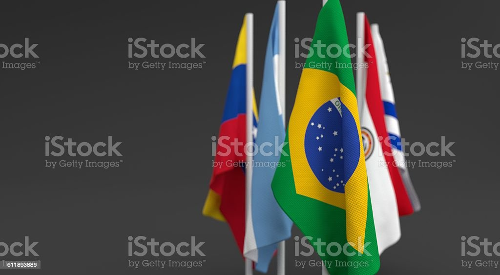 3d render, Flags of the five countries of the Mercosul stock photo