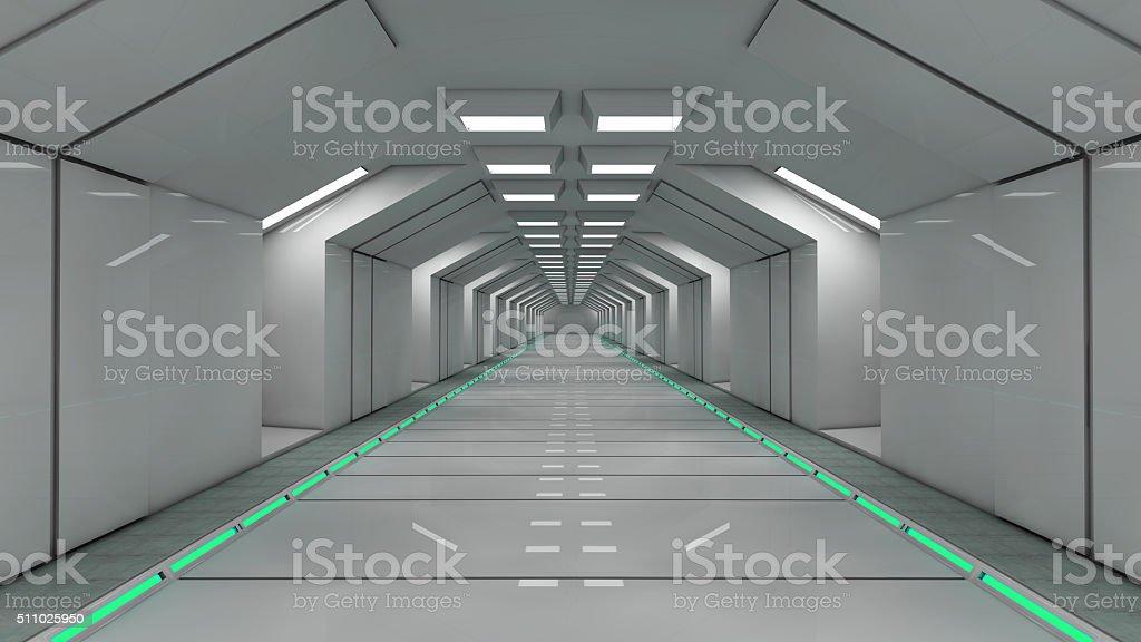 3d render. Futuristic interior corridor stock photo