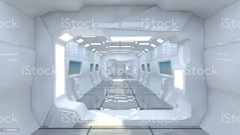 3d render. Futuristic spaceship interior corridor stock photo