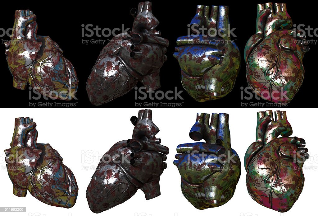 3d render ilustration of the metal heart stock photo