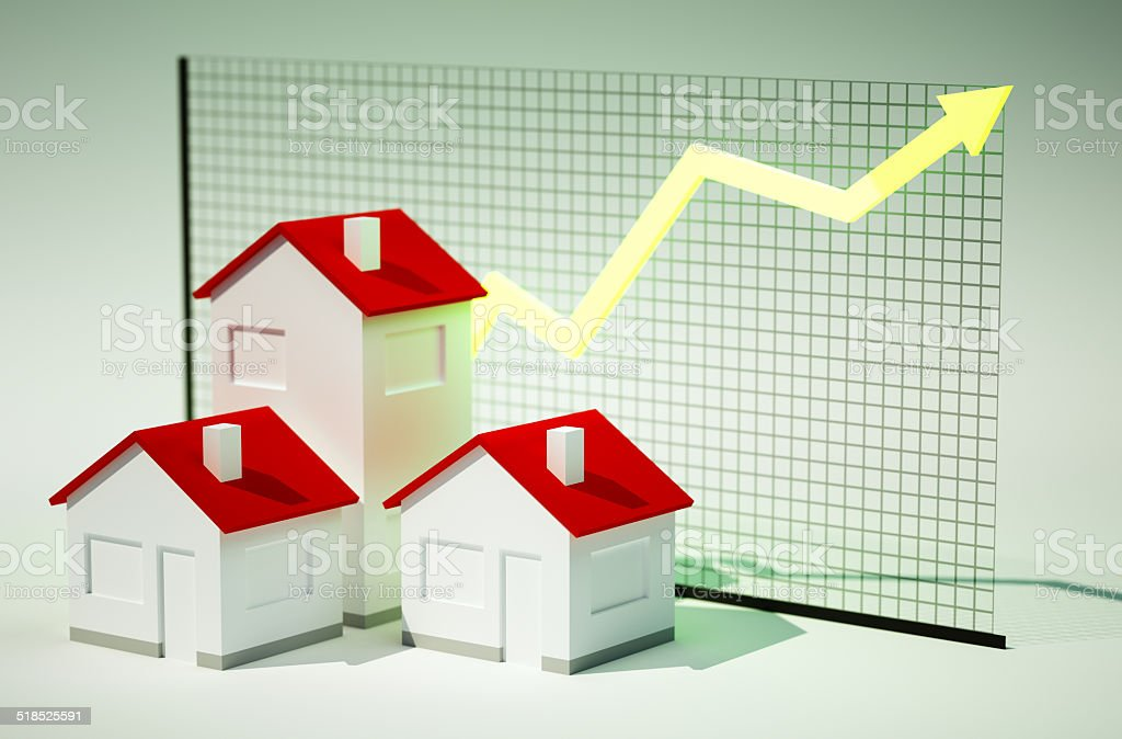 3d render image of houses with graph growing vector art illustration