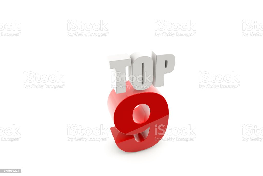 3d render isolated number 9 on white stock photo