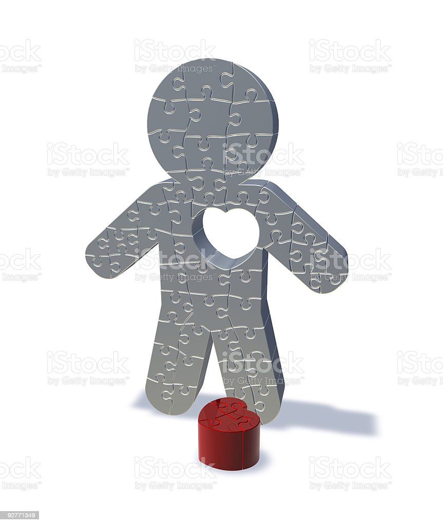 3d render jigsaw man, love lost royalty-free stock photo