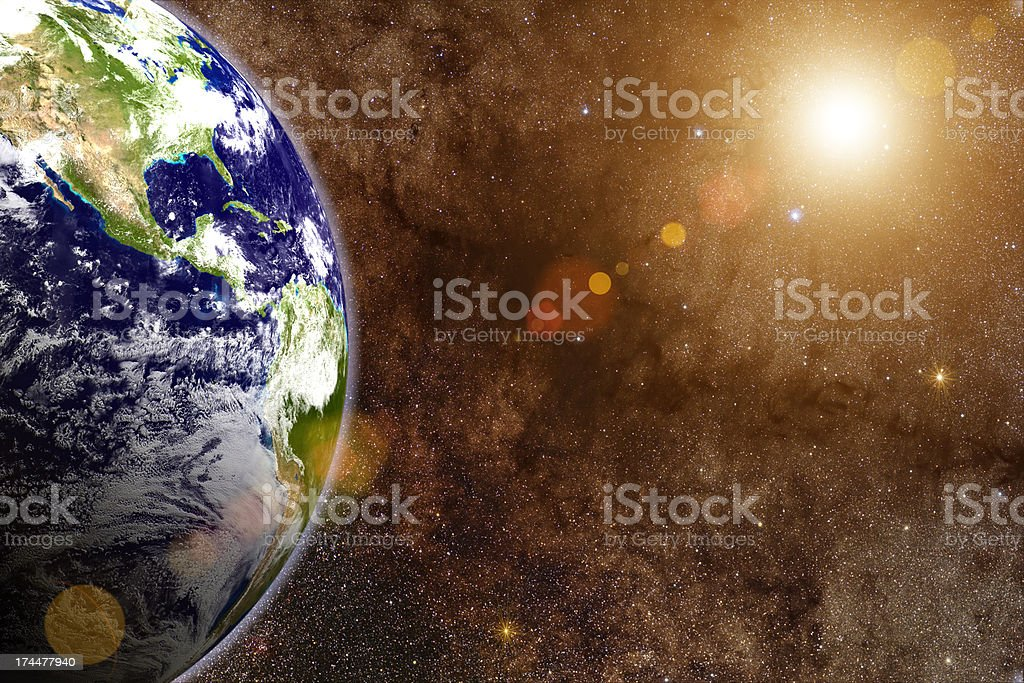 3d render - Large Star & Earth royalty-free stock photo