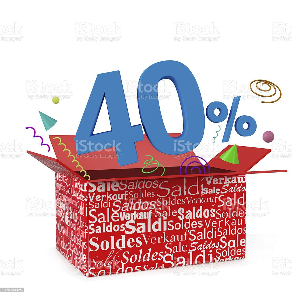 3d render of 40 percent in surprise box royalty-free stock photo