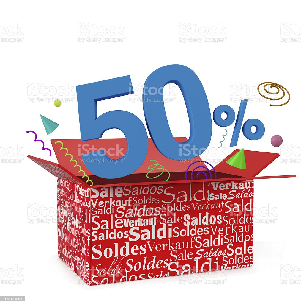 3d render of 50 percent in surprise box royalty-free stock photo