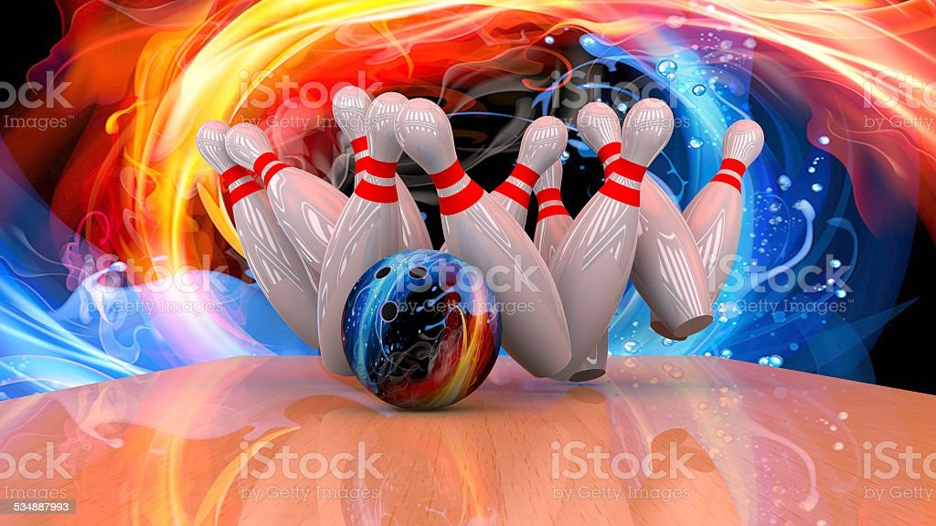 3d render of a bowling ball crashing into the pins stock photo