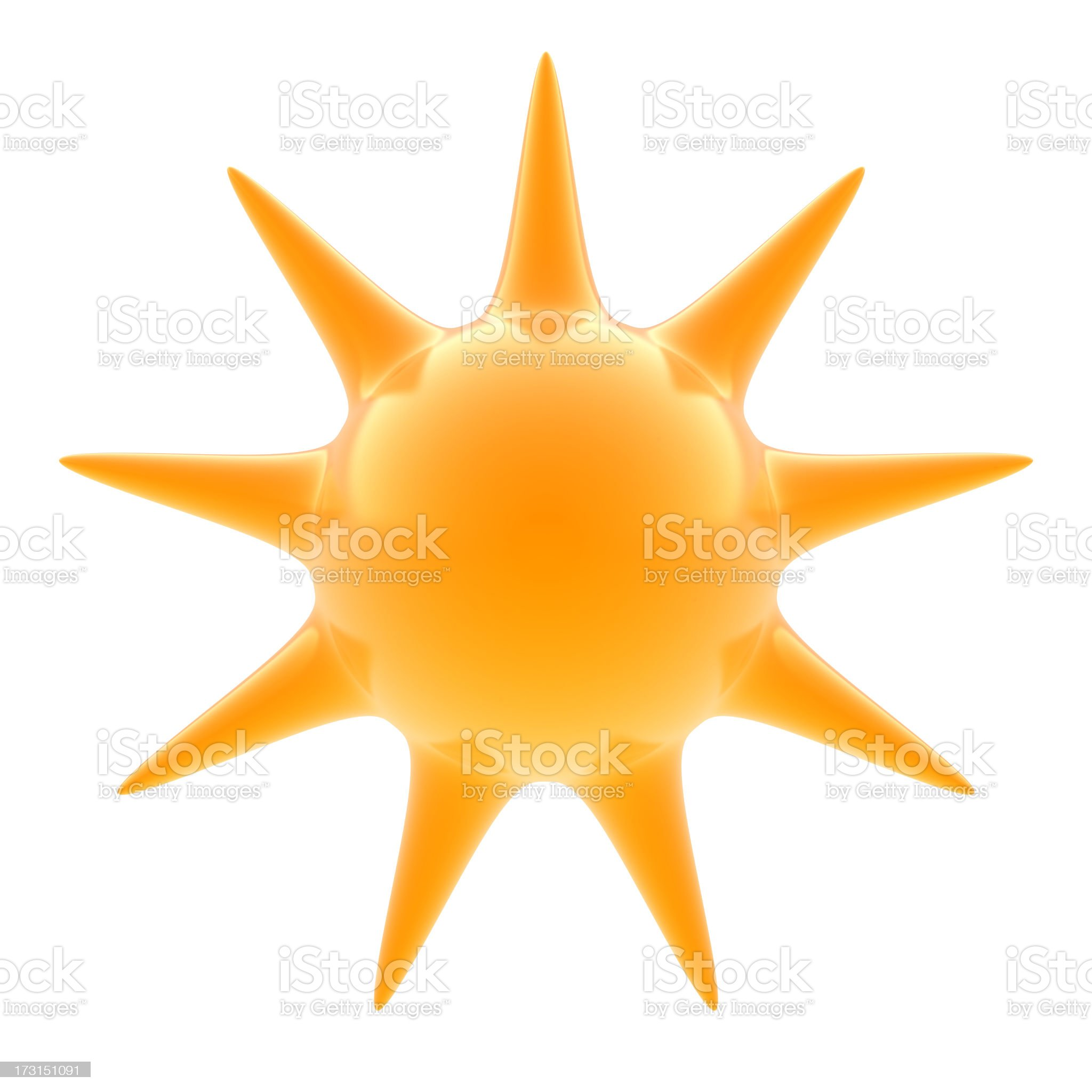 A 3d render of a glass sun on a white background royalty-free stock photo