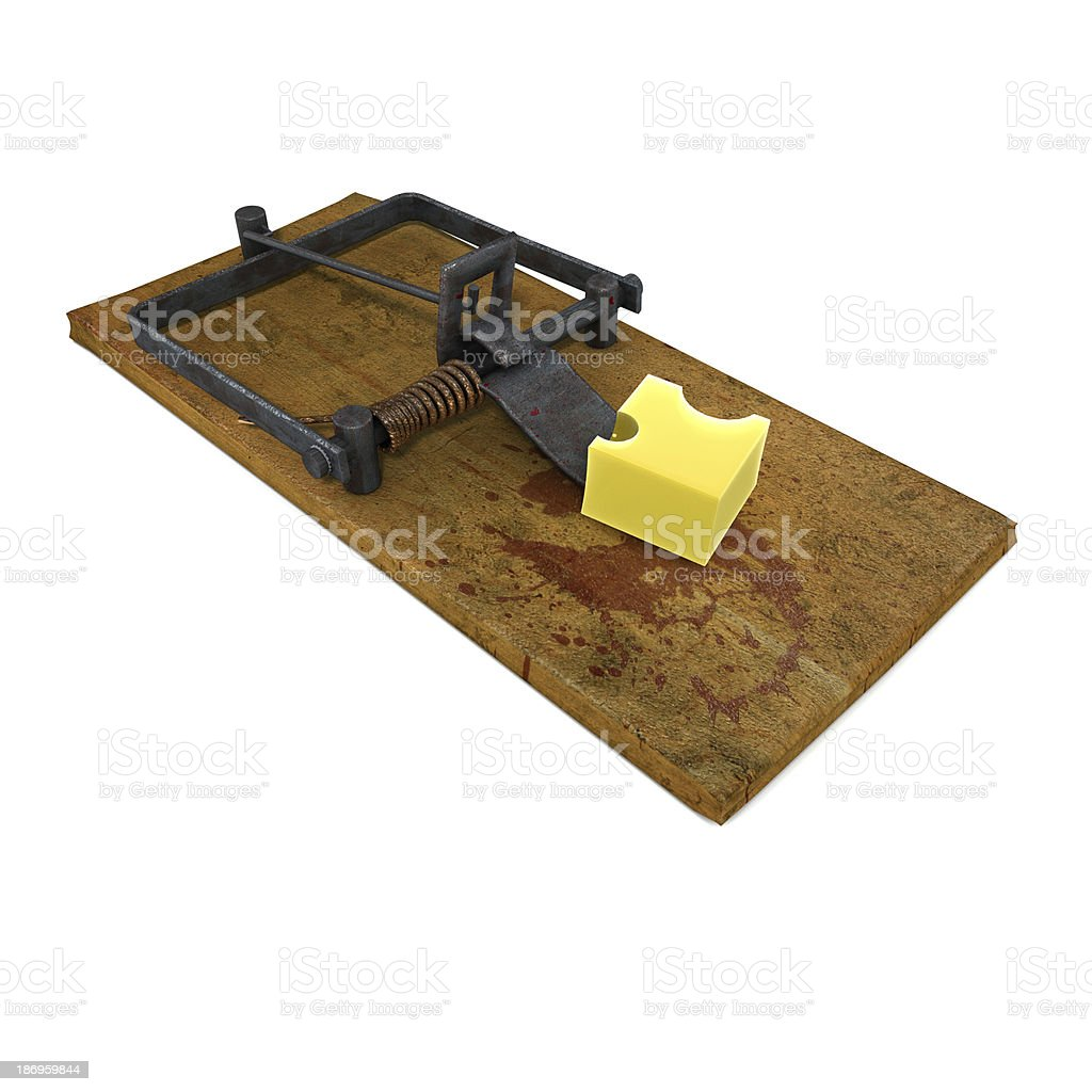 3d render of a mouse trap with cheese royalty-free stock photo