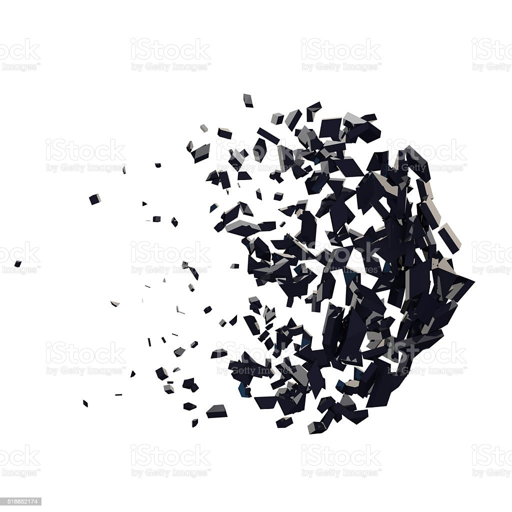 3d render of abstract geometric exploding shape stock photo