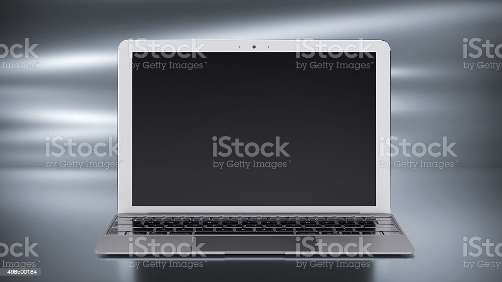 3d render of aluminum laptop whith blank Monitor stock photo