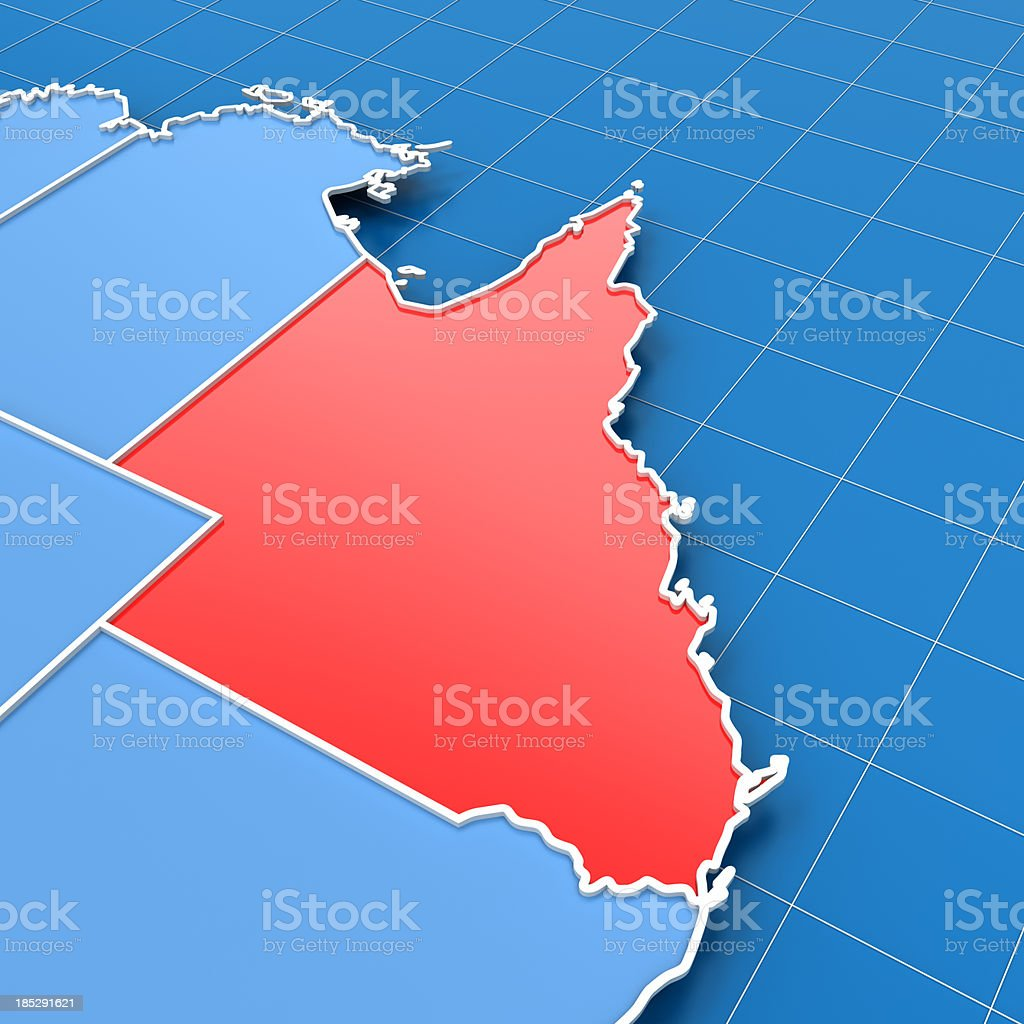 3d render of Australia map with Queensland highlighted stock photo