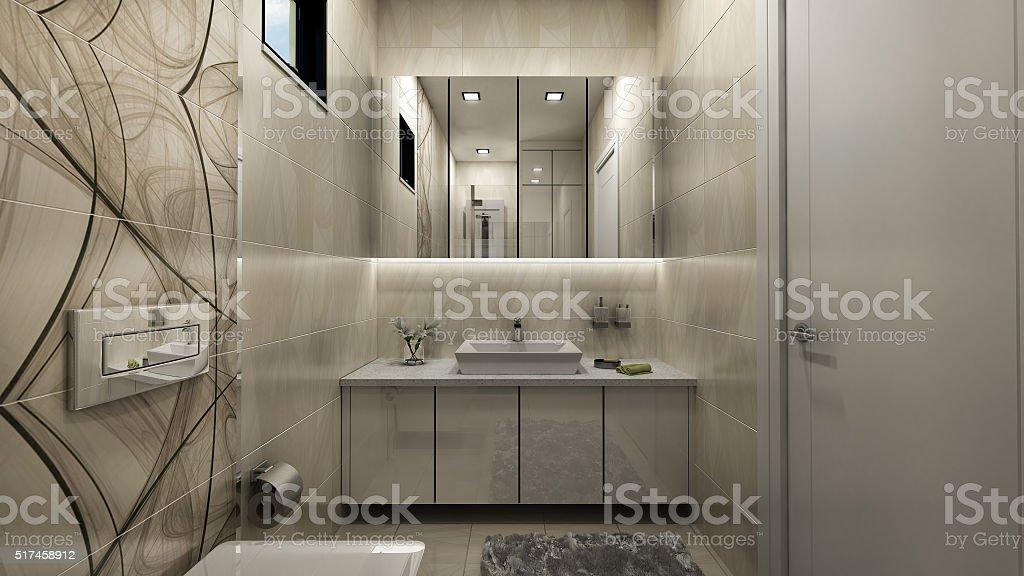 3d render of bathroom stock photo