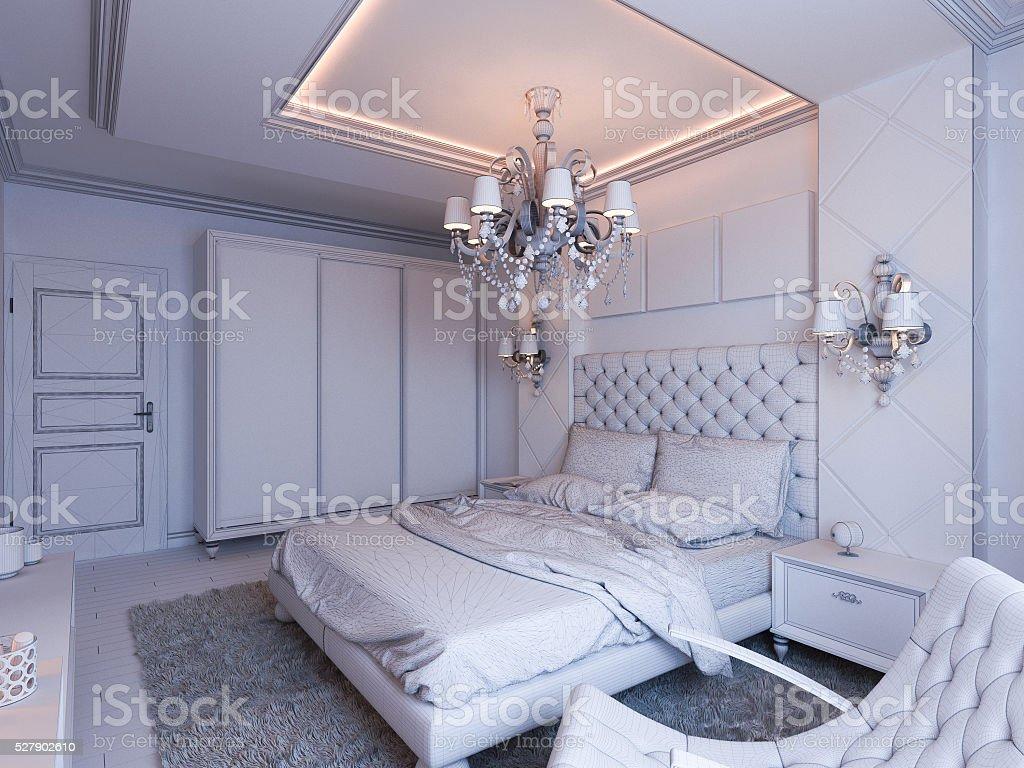 3d render of bedroom interior design stock photo