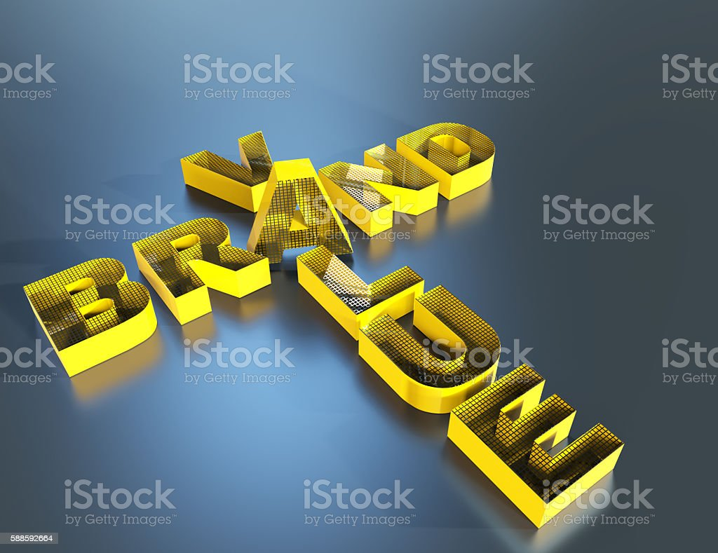 3d render of buzzword crossword brand and value stock photo