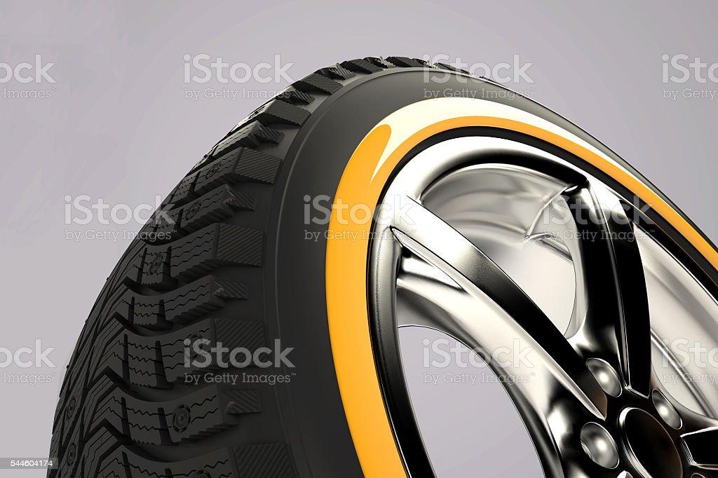 3d render of car wheel stock photo