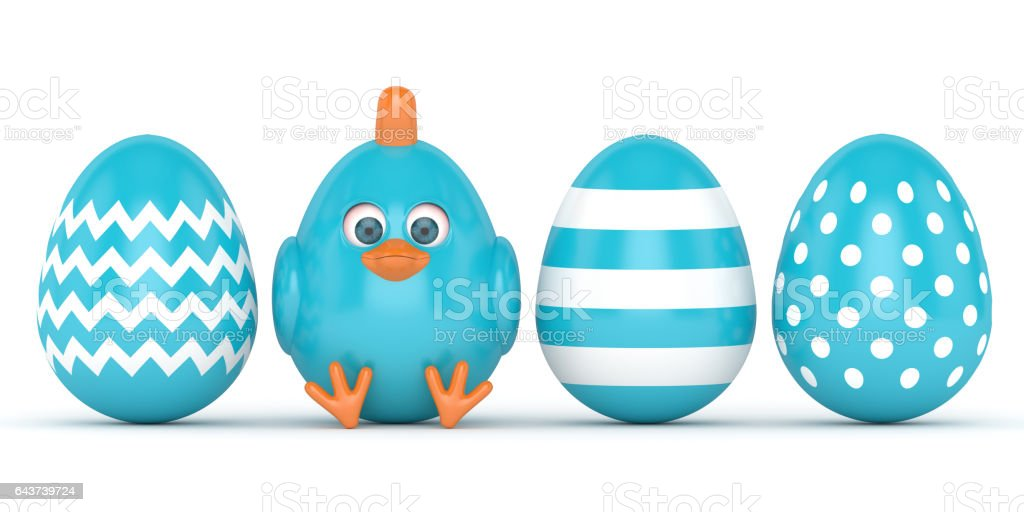 3d render of Easter chick with painted eggs stock photo