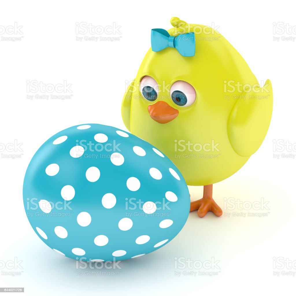 3d render of Easter chickk with painted egg stock photo