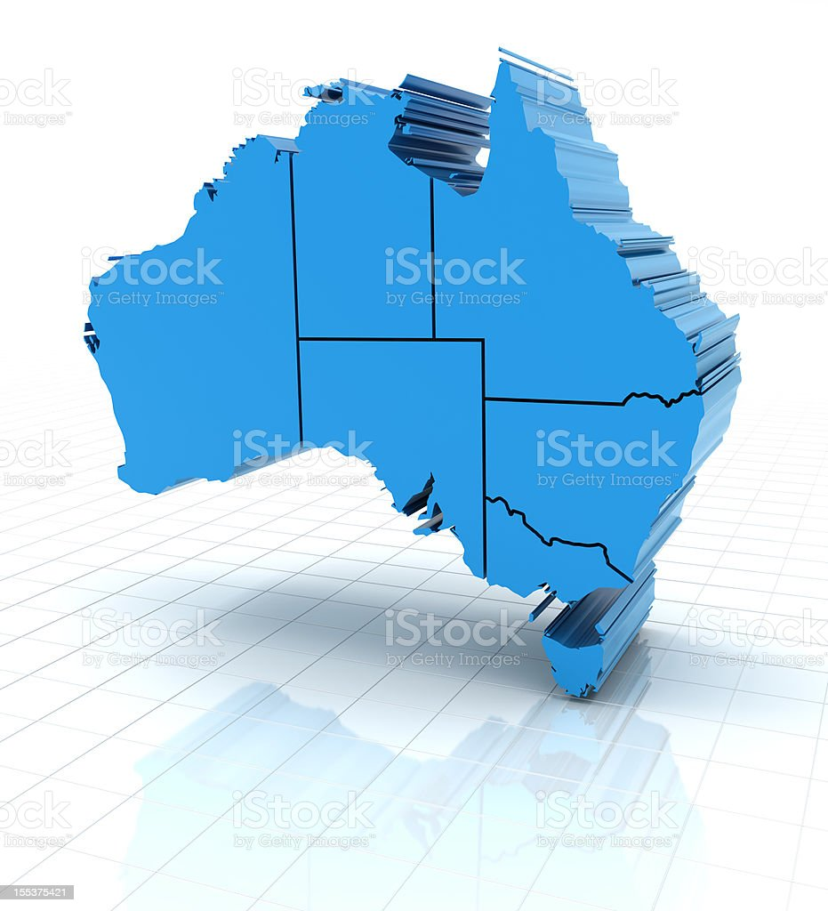 3d render of extruded Australia map with state borders stock photo