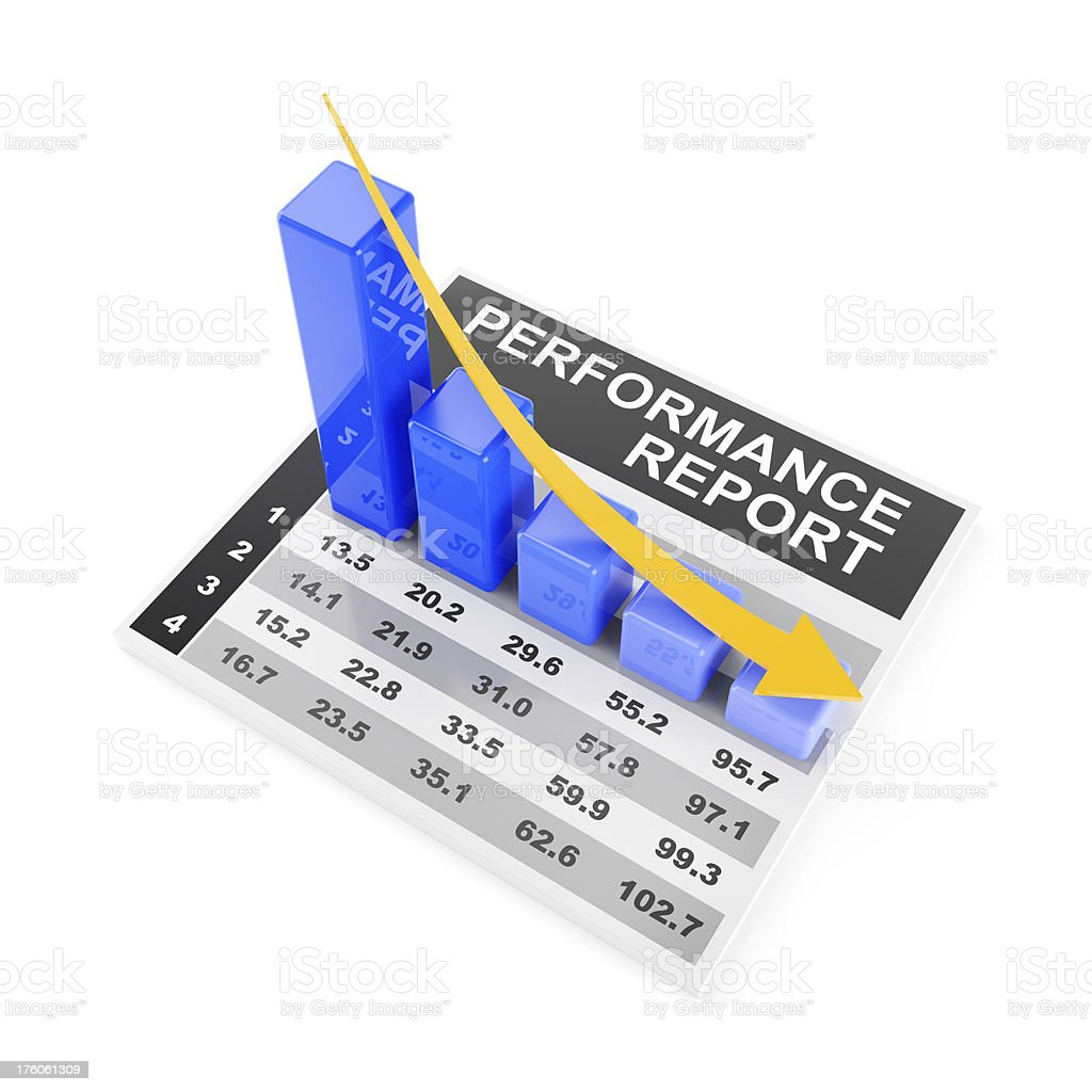 3d render of falling chart royalty-free stock photo