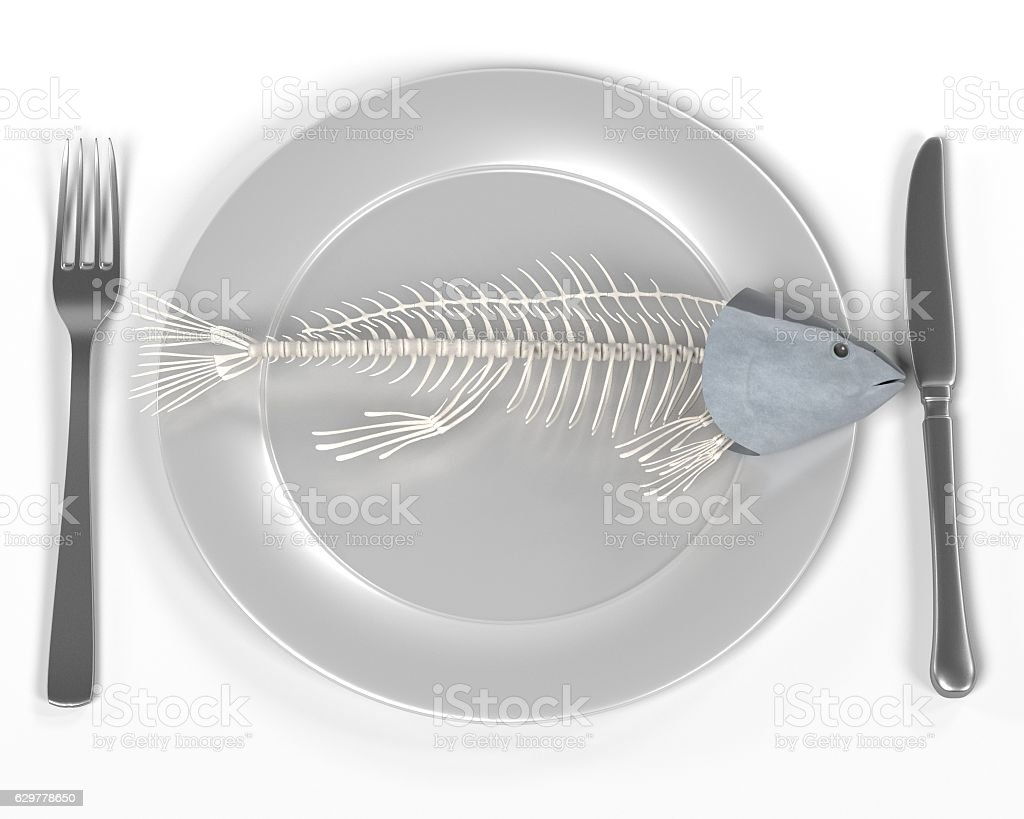 3d render of fish on plate stock photo