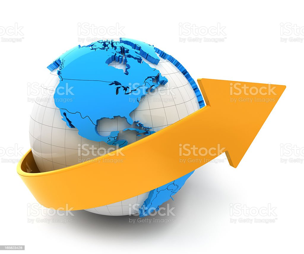 3d render of globe with arrow royalty-free stock photo