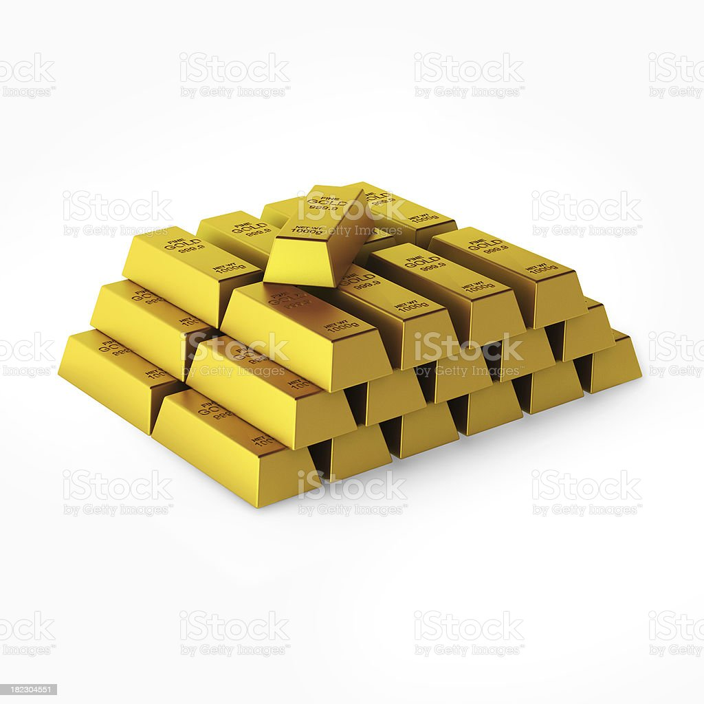 3d render of gold bars stock photo