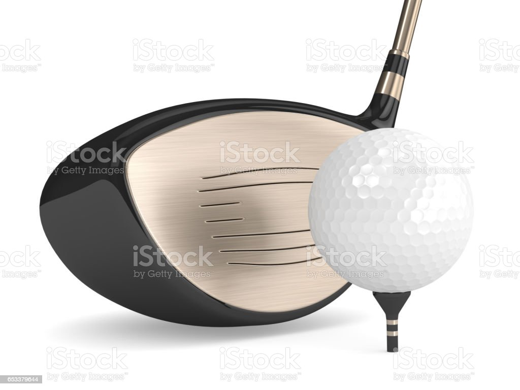 3d render of golf ball with golf club over white stock photo