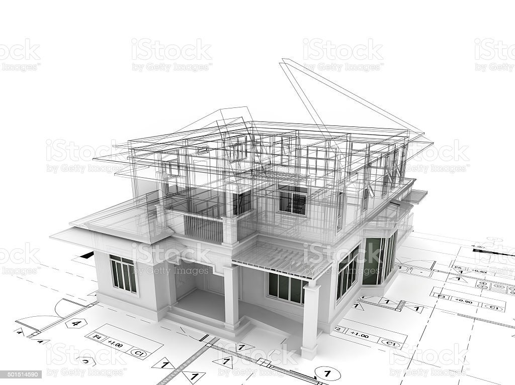 3d render of house on plan stock photo