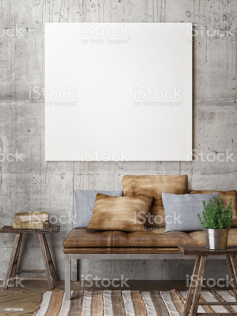 3d render of mock up poster, hipster style stock photo