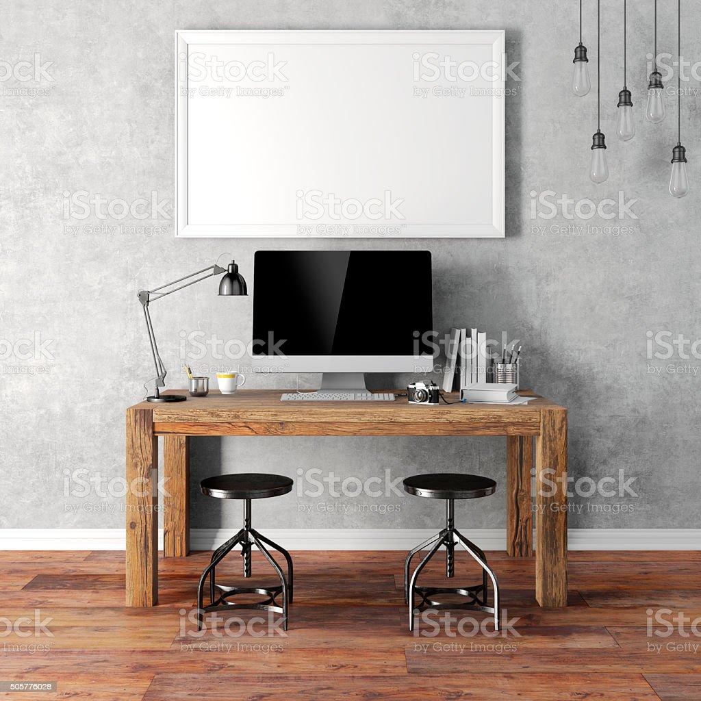 3d render of modern workplace setup stock photo