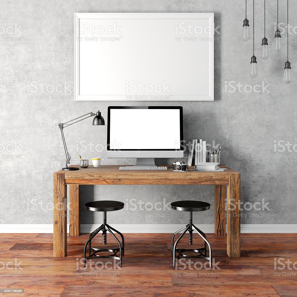 3d render of modern workplace setup stock photo