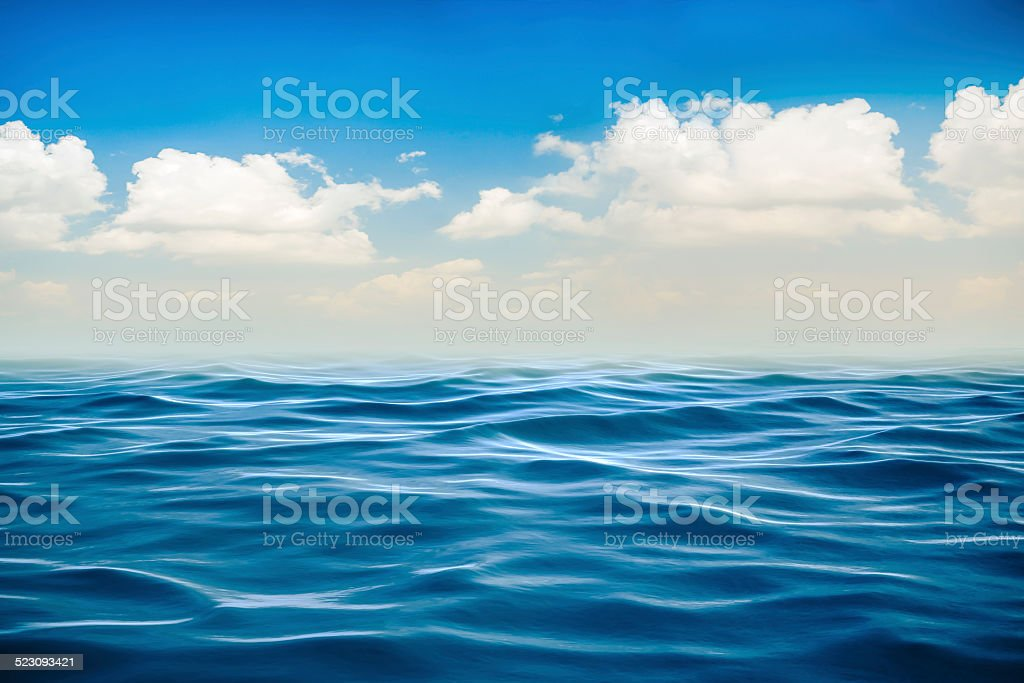 3d render of ocean and beautiful blue sky stock photo