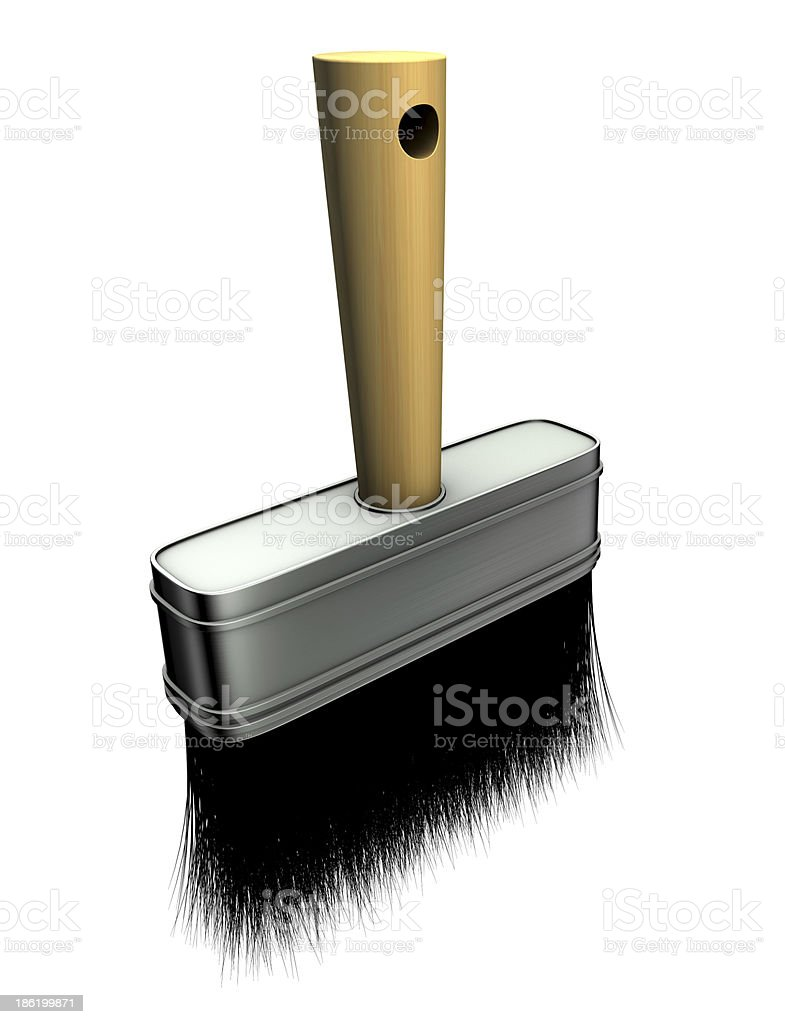 3d render of paint brush over white royalty-free stock photo
