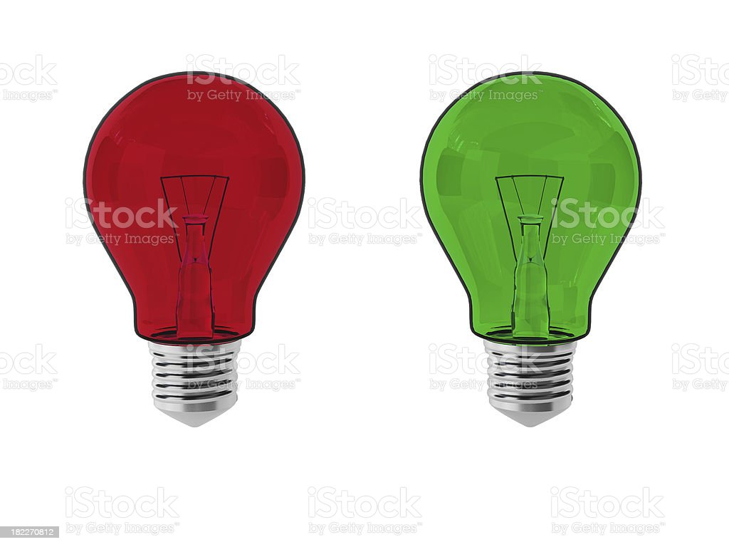 3d render of red and green lightbulbs royalty-free stock photo