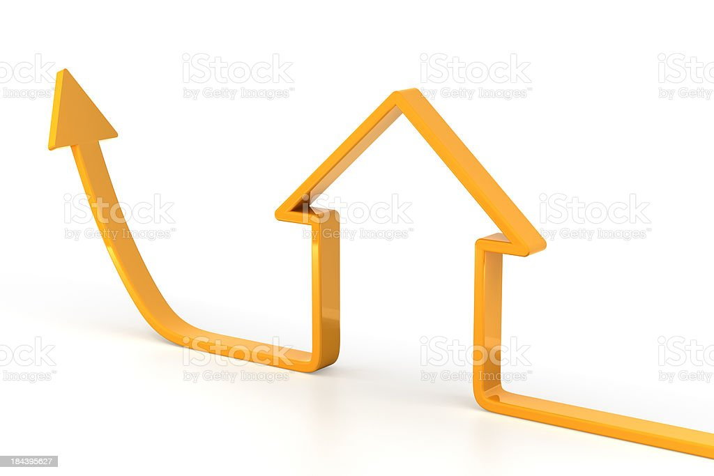 3d render of rising arrow, shaped like a house royalty-free stock photo