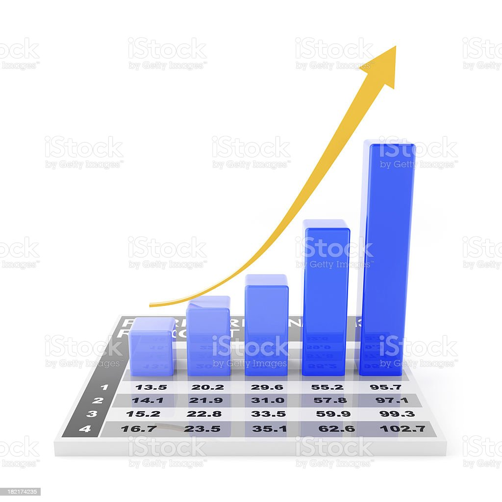 3d render of rising chart royalty-free stock photo